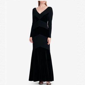 RALPH LAUREN BLACK V-NECK VELVET-TRIM GOWN DRESS